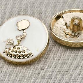 Пуговица металл ПМ20 28мм белая эмаль золото девочка уп 12 шт фото