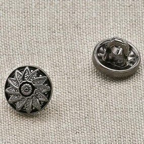 Пуговица металл ПМ23 8мм черный никель цветок уп 12 шт фото