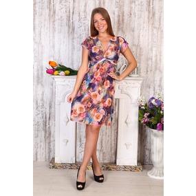 Платье Софья масло розы на фиолетовом Д408 р 54 фото