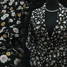 Ткань на отрез штапель 150 см 49575 Цветы на черном фото