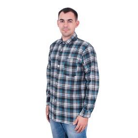 Рубашка мужская рукав длинный фланель набивная 52-54 Клетка Серая фото