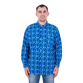 Рубашка мужская рукав длинный фланель набивная 52-54 Клетка Синяя фото