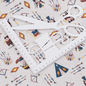 Ткань на отрез кулирка Индейцы R10020-V1 фото