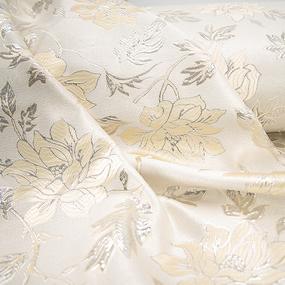 Портьерная ткань с люрексом 150 см на отрез H627 цвет 13 светло-бежевый цветы фото