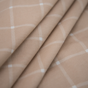 Ткань на отрез кулирка R1075-V3 Клетка цвет бежевый фото