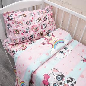 Постельное белье в детскую кроватку из перкаля 16142/1+13175/1 с простыней на резинке 160/80/15 фото