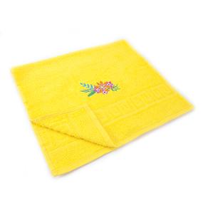 Махровое полотенце с вышивкой Цветы 40/70 см цвет лимонный фото
