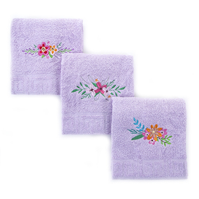 Махровое полотенце с вышивкой Цветы 40/70 см цвет сиреневый фото