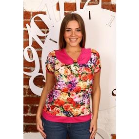 Блузка Пата масло Розы+розовая отделка В245 р 44 фото