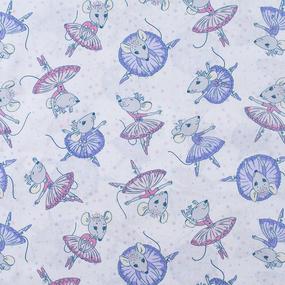 Ткань на отрез поплин 150 см 2153/1 Мышки балерины фото