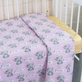 Пододеяльник поплин 112 гр/м2 детский 1903/1 Мишка с бантом цвет розовый 145/110 см фото