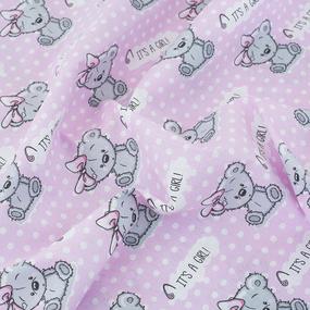 Простынь поплин детская 1903/1 Мишка с бантом цвет розовый 110/150 см фото