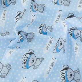 Пододеяльник поплин 112 гр/м2 детский 1904/1 Мишка в кепке цвет голубой 145/110 см фото