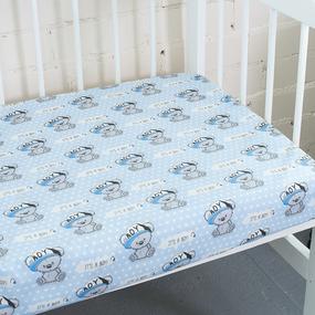 Простынь поплин детская 1904/1 Мишка в кепке цвет голубой 110/150 см фото