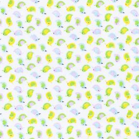 Ткань на отрез фланель 90 см 95031 Птички цвет желтый фото
