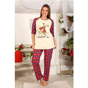 Пижама Северный олень Красно синяя клетка Б22 р 52 фото