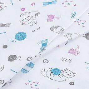 Ткань на отрез интерлок пенье Котята с клубочками 3580-18 фото