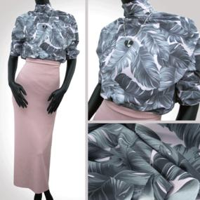 Ткань на отрез ниагара 150 см D1007-2 Монстера на розовом фото