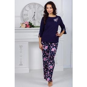 Костюм (блуза + брюки) 0880 цвет Темно-синий р 50 фото