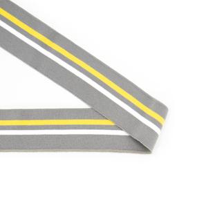 Подвяз трикотажный полиэстер арт.TBY.73087 цв.серый с белой и желтой полосами, 6х80см фото
