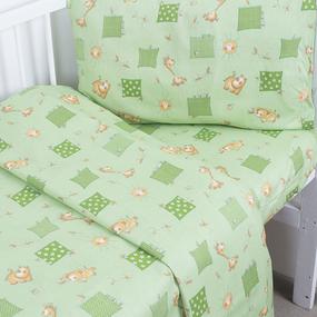 Постельное белье в детскую кроватку из бязи 366/2 Жирафики зеленый ГОСТ фото