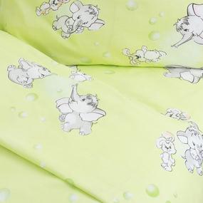 Постельное белье в детскую кроватку из бязи 1285/3 Мамонтенок зеленый ГОСТ фото