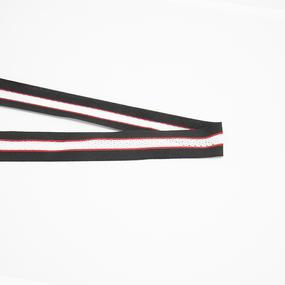 Лампасы №151 черный красные полосы с перфорацией 3см 1 метр фото