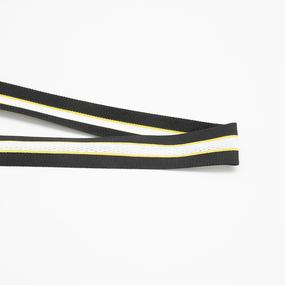 Лампасы №152 черный желтые полосы с перфорацией 3см 1 метр фото