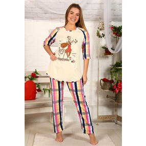 Пижама Северный Олень Розово Желтая Клетка Б22 р 52 фото