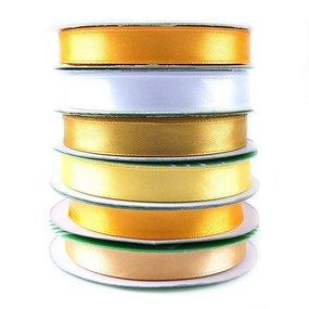 Набор атласных лент №10 желтый 12 мм уп 6*27,4 м фото