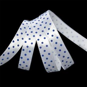 Лента атласная горох ширина 12 мм (27,4 м) цвет 029329 белый-синий фото