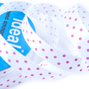 Лента атласная горох ширина 12 мм (27,4 м) цвет 029187 белый-розовый фото