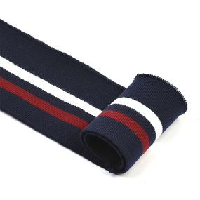 Подвяз трикотажный полиэстер арт.TBY.73008 цв.т.синий с белой и бордовой полосами, 6х80см фото