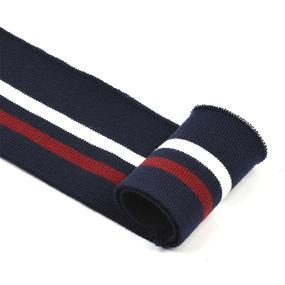 Подвяз трикотажный полиэстер арт.TBY.73008 цв.т.синий с белой и бордовой полосами, 6х80см уп.5шт фото
