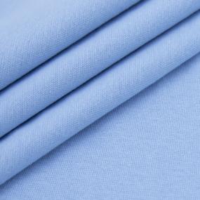 Ткань на отрез рибана с лайкрой М-2070 цвет светло-голубой фото