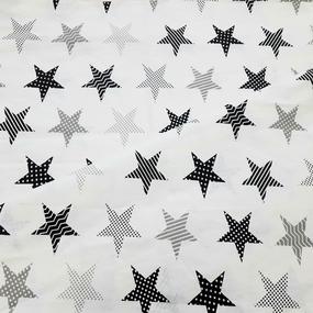 Ткань на отрез бязь плательная 150 см 8104/5 Звезды пэчворк цвет серый фото