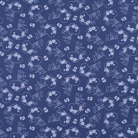Ткань на отрез кулирка Собачки 2148-V3 цвет индиго фото