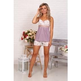Пижама Царица шорты сердечки-горох на пурпурном Б16 р 56 фото