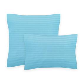 Наволочка Страйп-Сатин 906 голубой в упаковке 2 шт 70/70 см фото