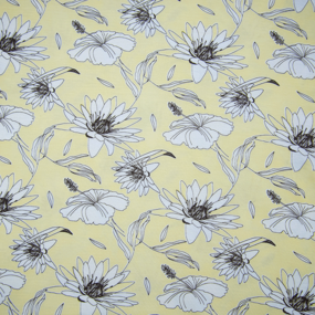 Ткань на отрез кулирка 2382-V1 Цветы на жёлтом фото