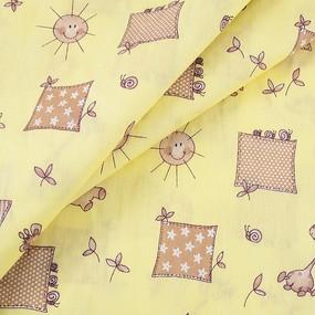 Ткань на отрез бязь ГОСТ детская 150 см 366/4 Жирафики цвет желтый фото