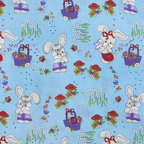 Ткань на отрез бязь 120 гр/м2 детская 150 см 1304/4 Лесная сказка цвет голубой фото