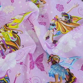Простынь бязь детская 99551 Волшебницы 1 роз 1.5 сп фото