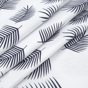 Ткань на отрез кулирка 1370-V3 Лист пальмы на белом фото
