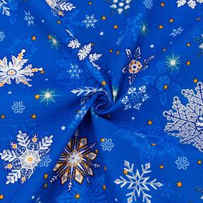 Ткань на отрез вафельное полотно набивное 150 см 35033/3 Снежинки цвет синий фото