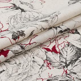 Маломеры полулен полотенечный 150 см 4912/3 цвет красный 1 м фото