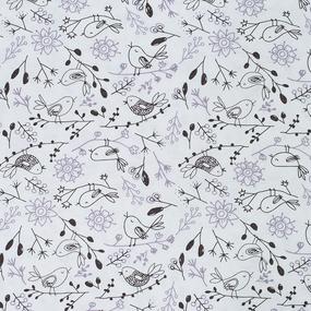 Ткань на отрез кулирка Птички 3320-V6 цвет молочный фото
