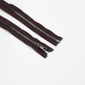 Молния металл №5СТ черный никель разьем 75см D570 коричневый фото