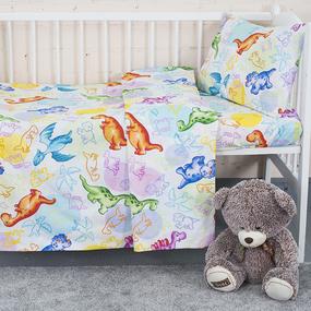 Постельное белье в детскую кроватку из поплина 10334/1 Динозаврики с простыней на резинке фото