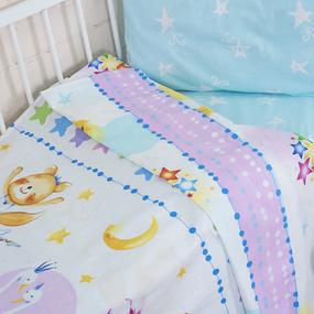 Постельное белье в детскую кроватку из поплина 10925/1 Акварельки с простыней на резинке фото